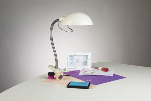 Lampe daylight flexible sur pince blanche -E31120-